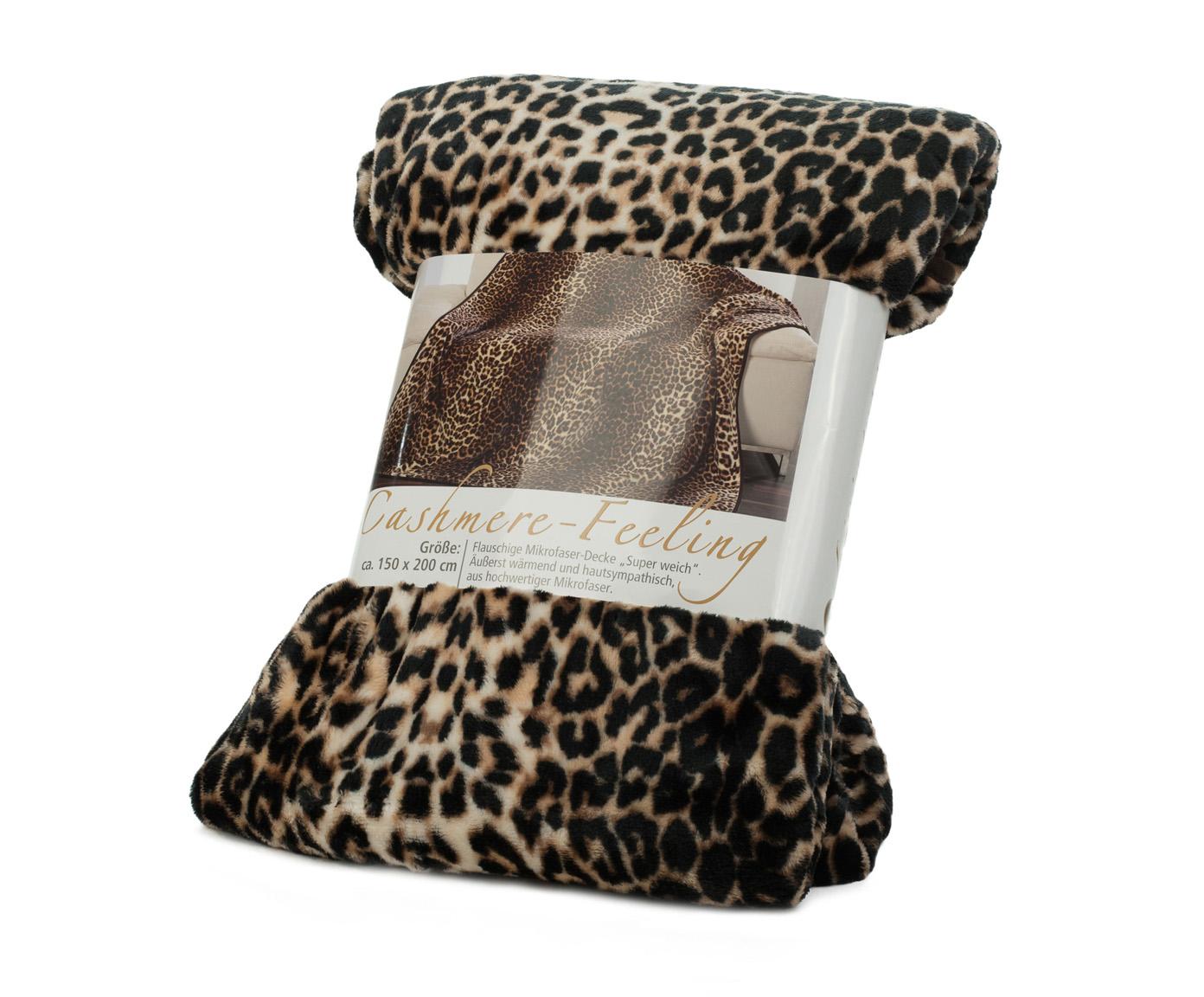 Kuscheldecken Cashmere Feeling 150x200 Leopard braun